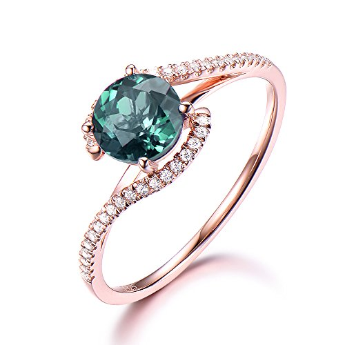 Alexandrite Round Ring - 925 Sterling Silver Created Green Alexandrite Round Engagement Ring CZ Pave Eternity Band Rose Gold