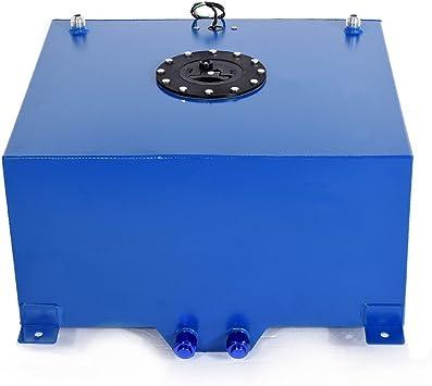 15 GALLON BLUE COATED ALUMINUM RACING//DRIFTING FUEL CELL GAS TANK+LEVEL SENDER