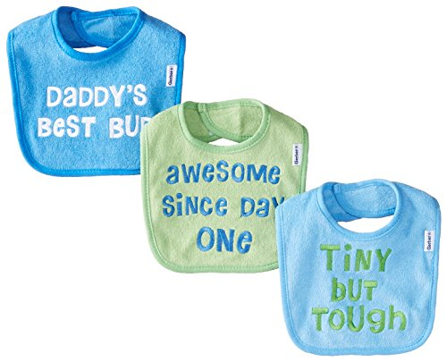 A Baby Newborn Bib - Gerber Baby-Boys Newborn 3 Pack Terry Bib with Sayings Blue, Blue, One Size