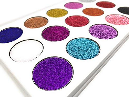 Pressed Glitter Eyeshadow Palette 15 Gel Rainbow Colors Highly Pigmented by Mynena (Image #8)