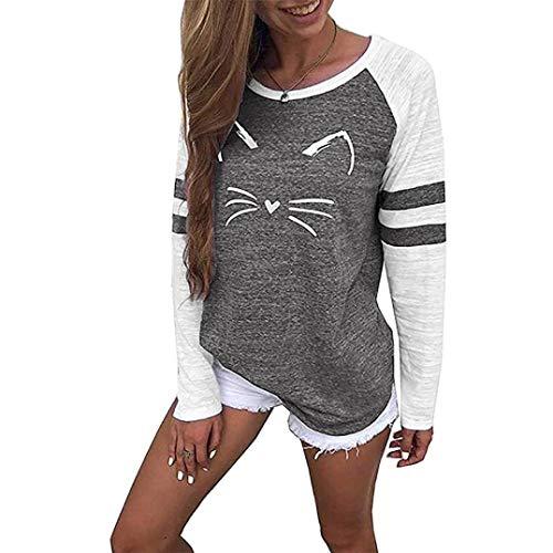 Blouse Chic Manches Imprimer Col Mode Noir Mignon Casual Tops Plus Shirt V SANFASHION Paillete Hiver amp;Automne Chemise Size Florale Chat de Femmes Longues wPvqWE6c0x