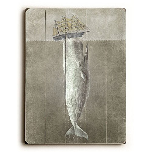 White Whale by Artist Terry Fan 18''x24'' Planked Wood Sign Wall Decor Art