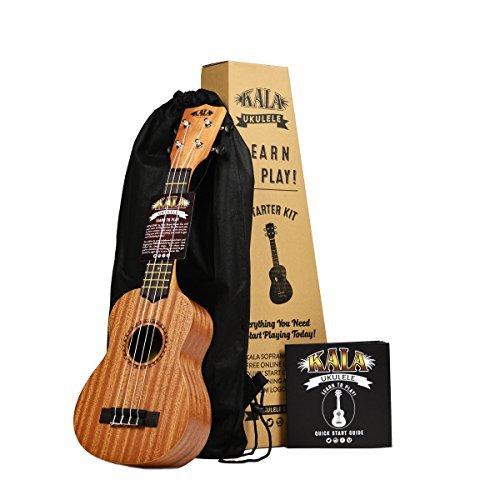 Official Kala Learn to Play Ukulele Soprano Starter Kit, Light Mahogany – Includes online lessons, tuner, and app, Light Mahogany Stain, Learn to Play Kit
