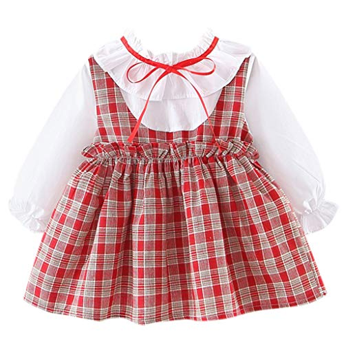 FEITONG Toddler Kid Baby Girl Long Sleeve Plaid Bow Party Princess Dress(Red,0-6M
