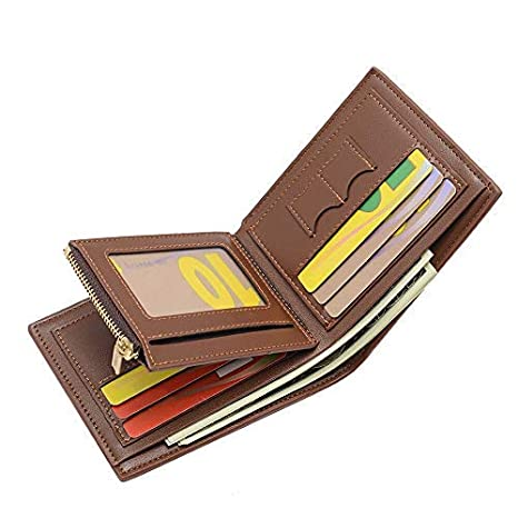 f055af4a87 Portafoglio Uomo SaiLinNa Pelle Porta Carta di Credito Portafoglio con  cerniera Coin tasca e slot SIM