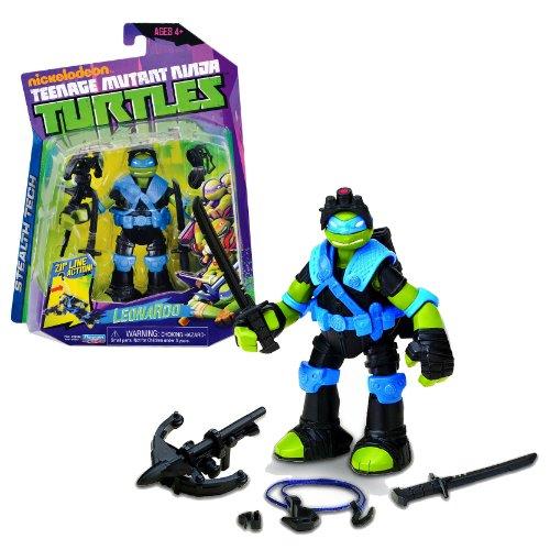 """Playmates Year 2013 Teenage Mutant Ninja Turtles TMNT Stealth Tech Series 5"""" Tall Figure - LEONARDO with Katana Swords, Cross Bow and Rappelling Line"""