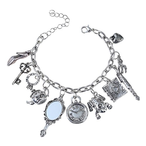 (SXNK7 Women Retro Frog Charm Chain Multielement Mirror Teapot Alloy Bangle Bracelet Jewelry (Anti Silver) )
