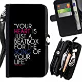 JORDAN FOR BLACKBERRY Z3 Your Heart Is A Beat box Zipper Wallet With Strap Card Holder Case Cover