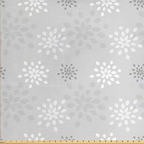 Lunarable Floral Fabric by The Yard, Stylized Flower Motifs with Soft Colors Japanese Type Vintage Patterns Graphic Print, Decorative Fabric for Upholstery and Home Accents, 3 Yards, Grey White