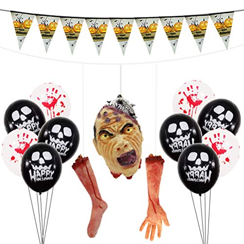 orations Set Hanging Severed Head Hand Leg Balloons Banner for Halloween Theme Party (2) ()