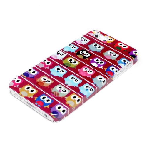deinPhone Apple iPhone 5 5S HARDCASE Hülle Case Kleine Bunte Eulen Rot