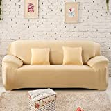 uxcell® Stretch Sofa Slipcovers Sofa Covers 2 Seater Protectors Couch Covers Featuring Soft Form Fit Slip Resistant Chair Covers 56-74 Inches Beige