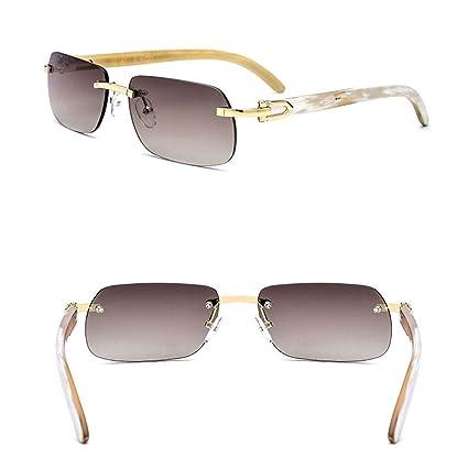 58b3ec7037 HONGLIAN Horns Sunglasses Precious White Horns Legs High-end Sunglasses Anti -UV Sunglasses Men