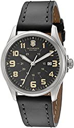 Victorinox Unisex 241580 Infantry Vintage Stainless Steel Watch With Grey Leather Band
