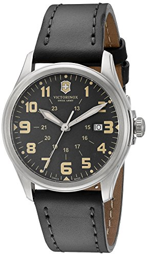 Victorinox-Unisex-241580-Infantry-Vintage-Stainless-Steel-Watch-With-Grey-Leather-Band