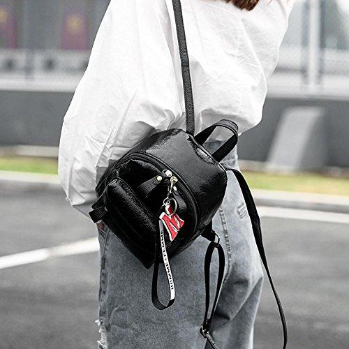 Piel de Cremallera Hombro con Casuales Mochilas Matefield negro Mini Negro para el sintética para Bolsos Mujer 0EqOB5
