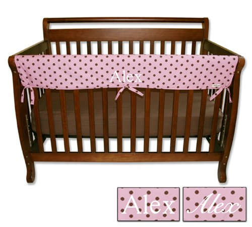 Personalized Embroidered Name Trend Lab Crib Wrap Rail Guard for Long Rail, Maya Dot