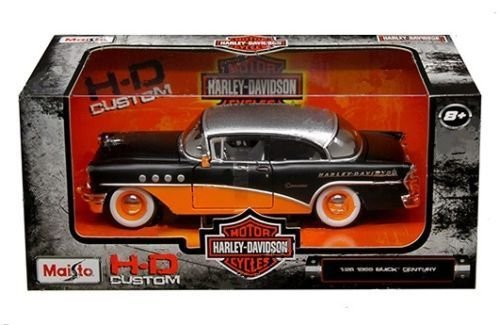 New 1:26 W/B MAISTO HARLEY DAVIDSON COLLECTION - MATTE BLACK & ORANGE 1955 BUICK CENTURY Diecast Model Car By Maisto - Buick Century Diecast Model