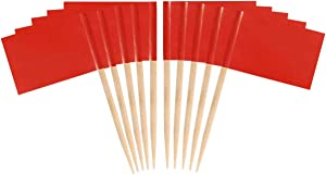 JAVD CYPS 100 Pcs Color Toothpick Flag (red) Blank Toothpick Flag, Fruit Cheese Markers Flags Small Mini Stick Cupcake Toppers Blank Toothpick Flags red Toothpick Flag