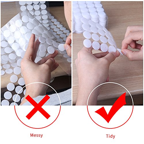 AIEX 500pcs (200 Pair 20mm Diameter Sets and 50 Pair 25mm Diameter Sets) Sticky Back Coins Hook & Loop Self Adhesive Dots Tapes (White) Photo #6