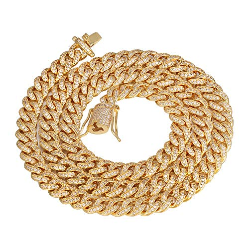 (PY Bling 8mm Mens Iced Out Hip Hop Miami Cuban Link Chain Choker 14K/18K Gold White Gold Plated CZ Necklace/Bracelet 8.5