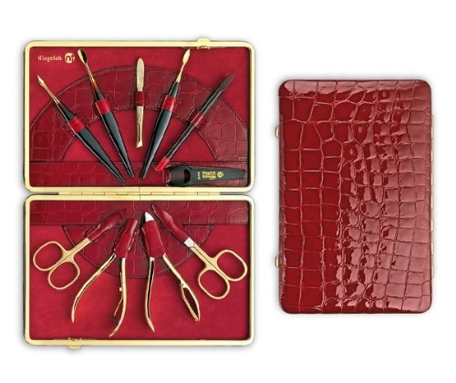 24K Gold-plated Womens Manicure Set in Red ''Kroko'' Leather Case. Made by Niegeloh in Germany