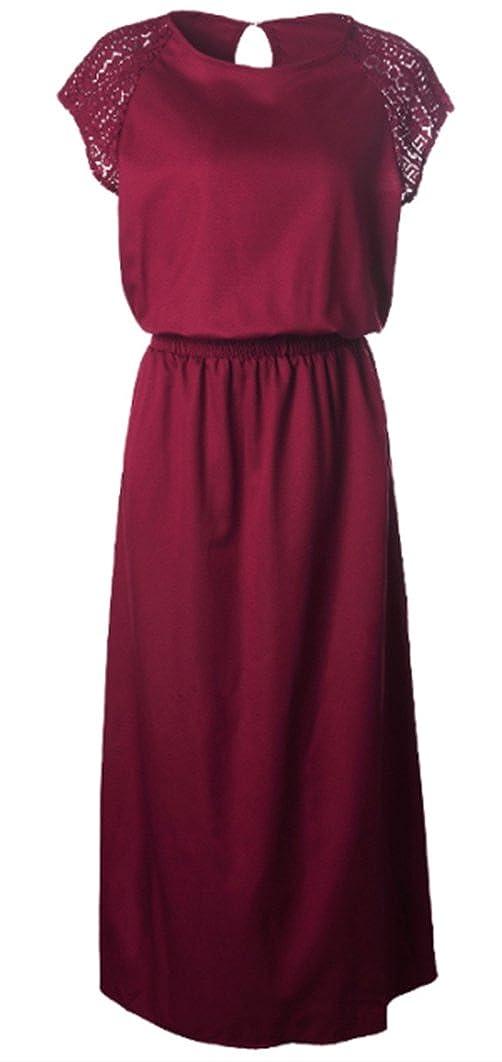 Foluton Damen Elegant Spitze Partykleid Brautkleid Lace Kurzarm elastische Taille Sommerkleid Casual Basic Tunika Kleider Festlich