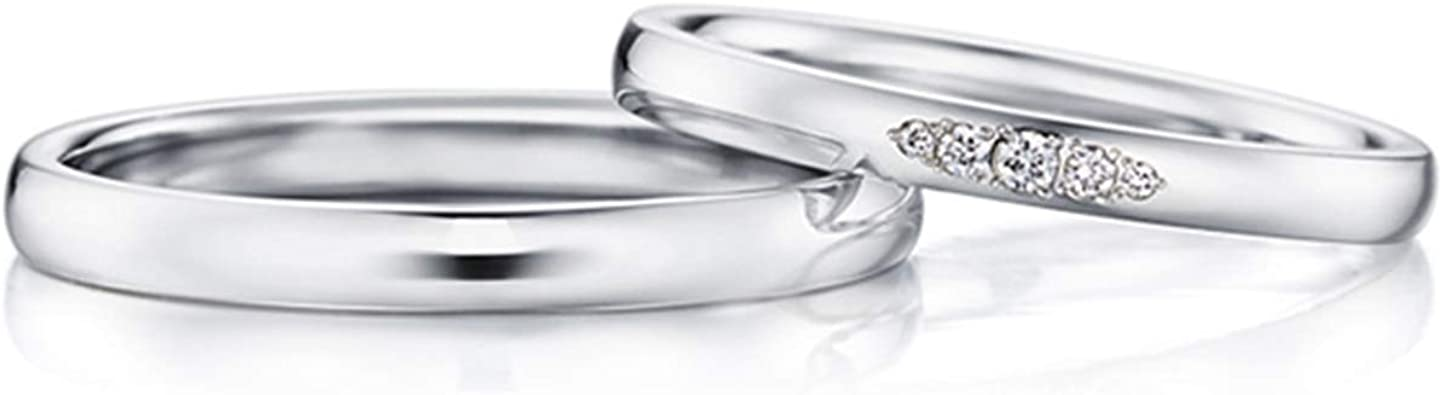 Gnzoe 1 Pair 18k White Gold Wedding Bands For Bride And Birdegroom Simple Polished With Diamond 0 02ct Engagement Wedding Ring For Him Her Women Size 5 Men Size 10 Amazon Com