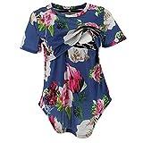 Nursing Blouses Women,Women's Pregnancy Splicing Stripe Floral Print T-Shirt Nursing Baby Top,Novelty Clothing,White,L