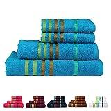 Kyпить CASA COPENHAGEN Exotic Cotton 475 GSM 4 Pieces Designer Bath & Hand Towels Gift Set - Teal Sachet на Amazon.com