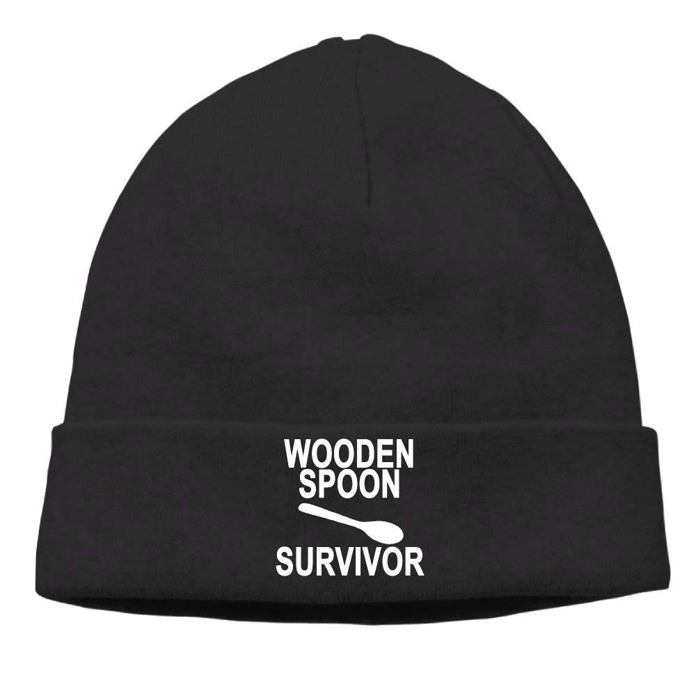 YVSXO Funny Beanies Momen Wooden Spoon Survivor Funny Skiing Black Beanies Hat