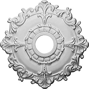 Ekena Millwork CM18RL Riley Ceiling Medallion, 18″OD x 3 1/2″ID x 1 1/2″P (Fits Canopies up to 4 5/8″), Factory Primed