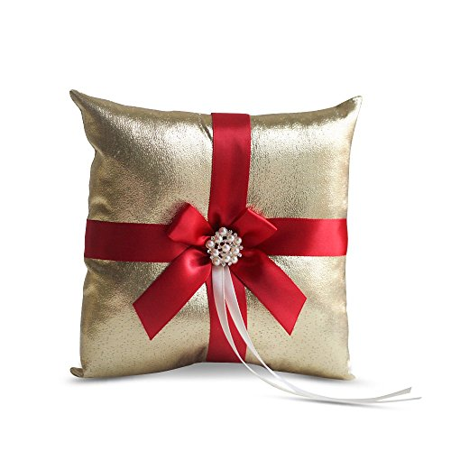 (RomanStore Gold & RED Wedding Ring Bearer Pillow and Flower Girl Basket Set - Satin & Ribbons - Pairs Well with Most Dresses & Themes - Splendour Every Wedding Deserves)