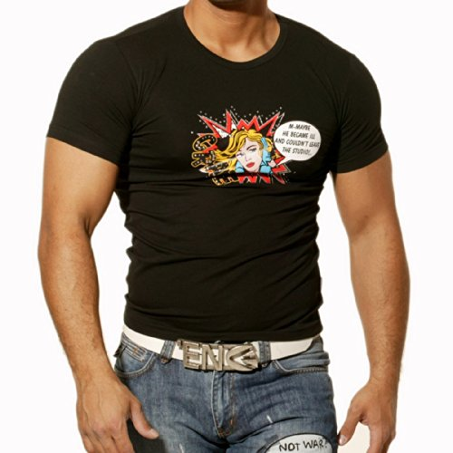 Rusty Neal Kurzarm Slim Fit Herren Shirt T-Shirt Schwarz RN-418 Neu, Größe:S