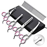 INTSUN 4pcs Dog Grooming Scissors Kit, Heavy Duty Stainless Steel Pet Grooming Trimmer Tools, Thinning, Straight, Curved Shears Comb for Long Short Hair for Cat and More Pets