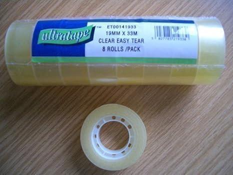 8 Rolls Clear Sticky Tape 19mm x 33m Ultratape SH49592