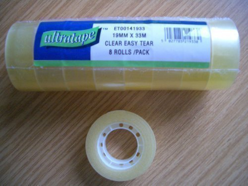 8 Rolls Clear Sticky Tape 19mm x 33m Ultratape SH49592