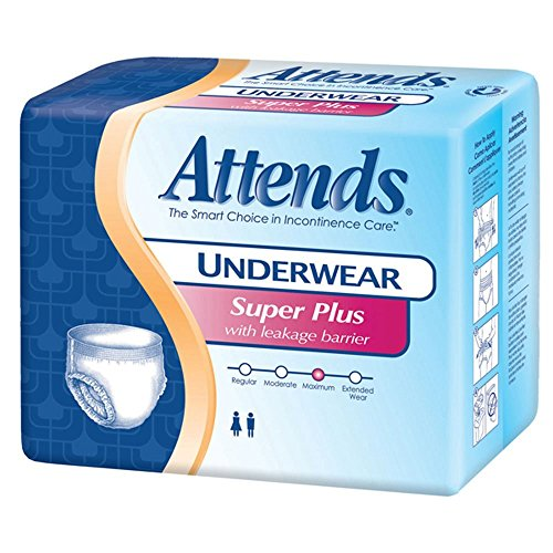 Ea Disposable Protective Underwear (Attends Underwear Super Plus with Leakage Barriers Medium 34-44in, 120-175lb, 80 ea)