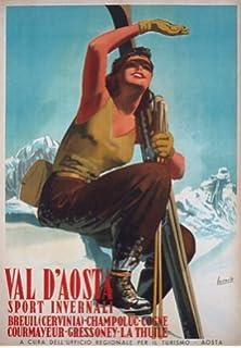 TV43 Vintage A4 1935 Val D/'Aosta Italy Italian Ski Skiing Travel Poster