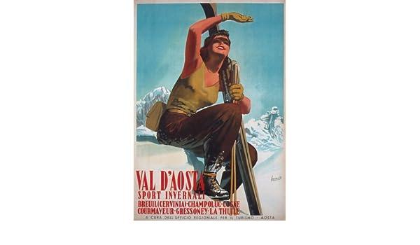 TV41 Vintage 1947 Val D/'Aosta Italy Italian Ski Skiing Travel Poster A3