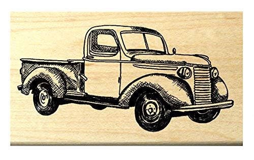 P118 Antique Pick up Truck Rubber Stamp ()