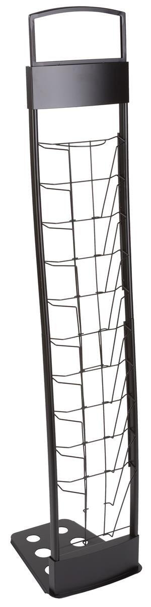 Displays2go Literature Rack Features 10 Pockets for 8.5 x 11 Inches Literature, Folding Design for Transportation, Included Carry Bag for Storage and Mobility - 55-Inch High (TENNVTBLK)