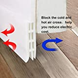 "Self Adhesive Under Door Silicone Sweep Weather Stripping Weatherproof Doors Bottom Seal Strip Insulation Draft Stopper noise reduction dustproof weatherstrip,2"" Width X 39"" Length (White)"