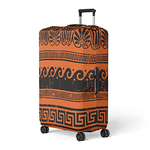 - Semtomn Luggage Cover Red Mythology Ancient Greek Border Ornaments Meanders Roman Wave Travel Suitcase Cover Protector Baggage Case Fits 22-24 Inch