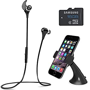 BlueBuds X Sport Bluetooth Headphones Mount & Memory Bundle - Midnight Black. Bundle Includes Bluetooth Headphones, iOttie Easy Smart Tap Dash Mount Holder, and Samsung High Speed 16GB microSD Class 6 Water/Shock Proof Memory Card
