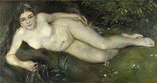 High Quality Polyster Canvas ,the High Definition Art Decorative Canvas Prints Of Oil Painting 'Pierre Auguste Renoir A Nymph By A Stream ', 20 X 38 Inch / 51 X 96 Cm Is Best For Foyer Gallery Art And Home Artwork And Gifts
