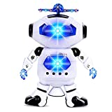 #6: Alagoo Electronic Toy Robot Walking Dancing Singing Robot with Musical and Colorful Flashing Lights 360° Body Spinning Robot Toy Gift for Kids, Boys, Girls (White)