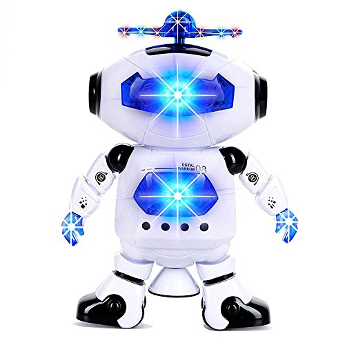Flashing Body Light (Alagoo Electronic Toy Robot Walking Dancing Singing Robot with Musical and Colorful Flashing Lights 360° Body Spinning Robot Toy Gift for Kids, Boys, Girls (White))