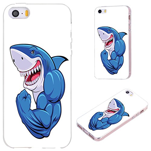 iPhone SE Case,iPhone 5S Case,iPhone 5 Case,VoMotec [Original Series] Anti-Scratch Slim Flexible Soft TPU Protective Skin Cover Case iPhone 5 5S SE,Funny Cartoon Blue Shark Show Muscle