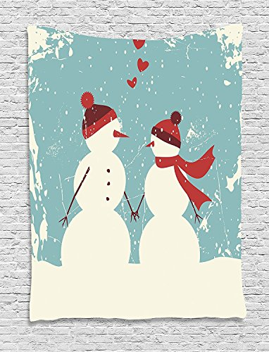 asddcdfdd Christmas Tapestry, Snowman and Woman Romantic Couple In Love Holding Hands Grunge Display, Wall Hanging for Bedroom Living Room Dorm, 60 W X 80 L Inches, Seafoam Red Cream (Wall Snowman Tapestry)
